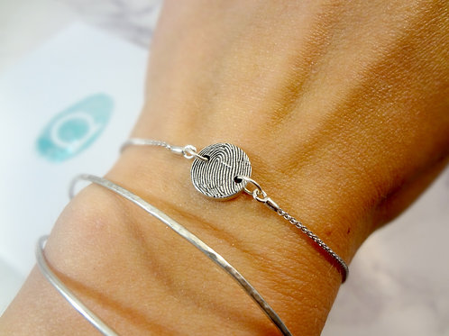 Silver Fingerprint Button Bracelet