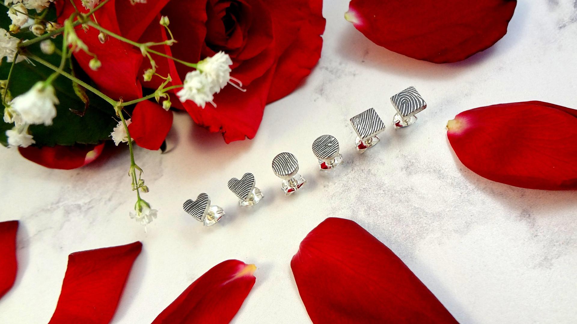 Fingerprint earring studs