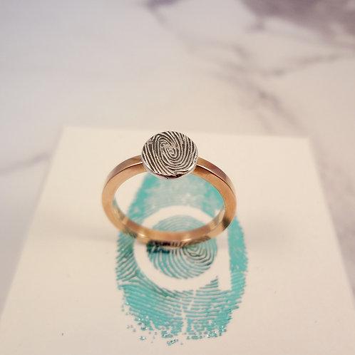 Rose Gold Fingerprint Ring with Medium Fingerprint in Silver Personalised Ring