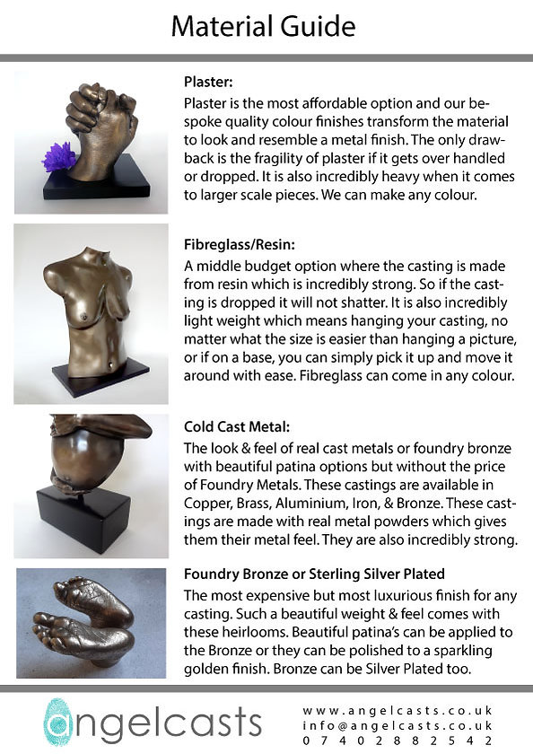 Material guide for Body casting with Angelcasts in Manchester North west for cold cast bronze, plaster artist and foundry bronze or Sterling Silver life casting.