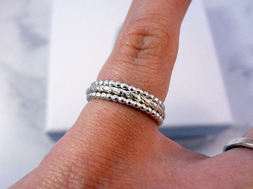 Bead Stacking Pixel Ring Set in Sterling Silver