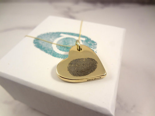 9ct Yellow Gold Fingerprint Necklace with Chunky Heart Pendant