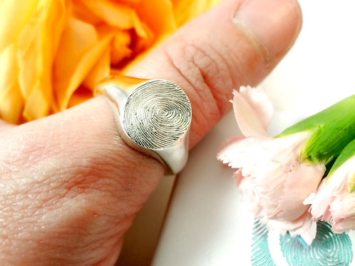Polished Fingerprint Sovereign Ring in Sterling Silver