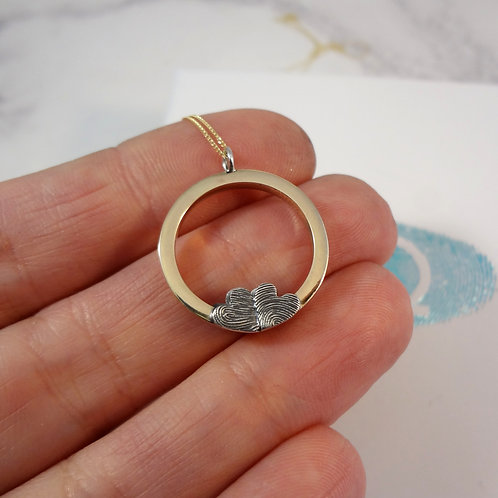 Gold Eternity Pendant with Fingerprint Shapes