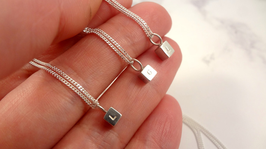 Personalised block necklace with initials personalised jewellery