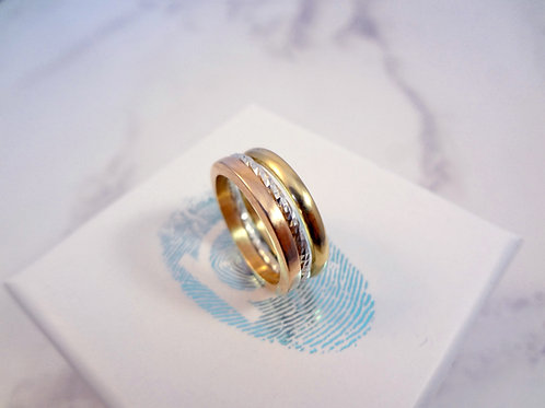 Double Gold & Pixel Silver Ring Set