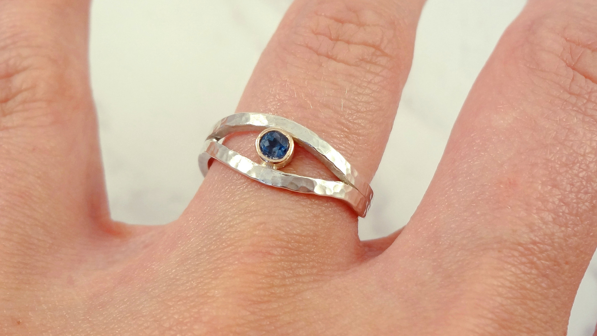 Evil Eye Gemstone Ring handmade in the UK