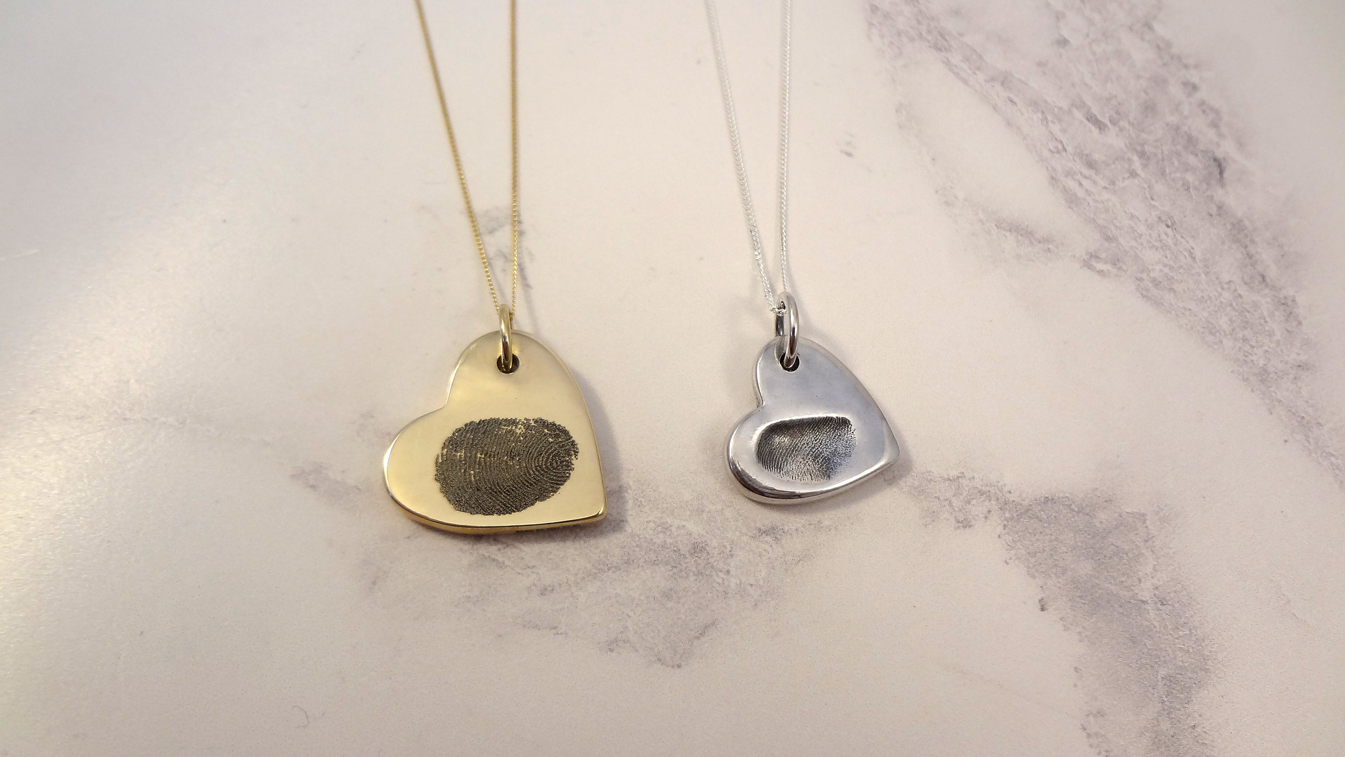 Gold fingerprint jewellery by Angelcasts in Manchester & London