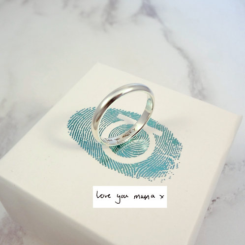 Handwriting Ring in Silver or Gold
