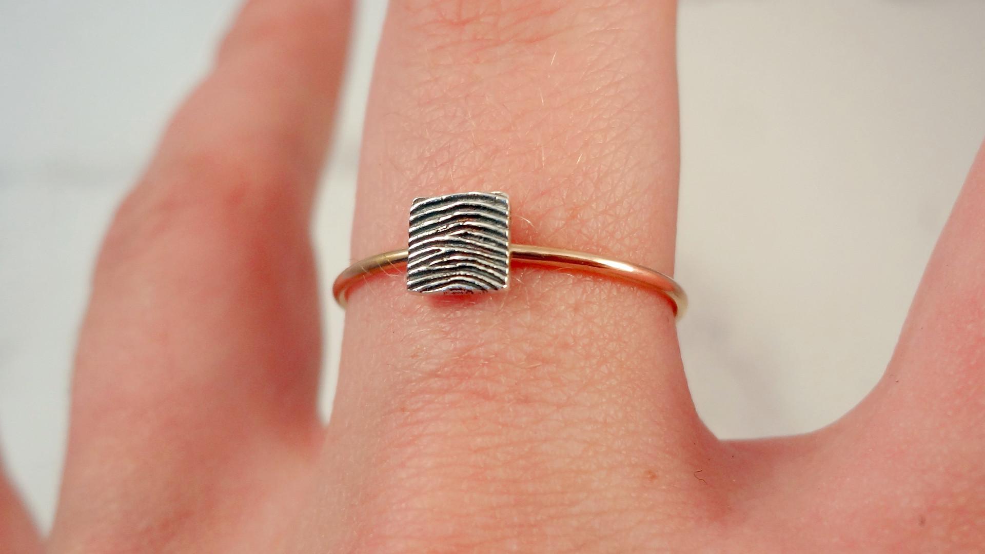 Elegant stacking fingerprint ring uk