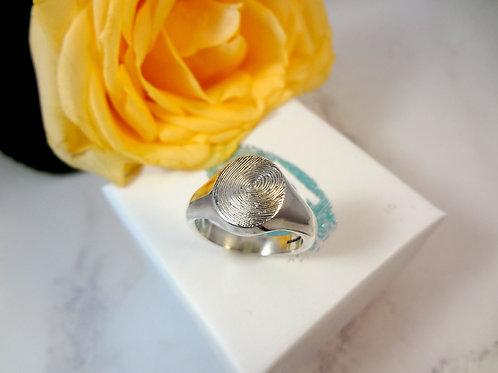 Fingerprint Sovereign Ring in Silver or 9ct Gold
