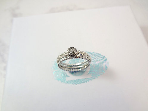 Pet Print Beaded Silver Ring Set
