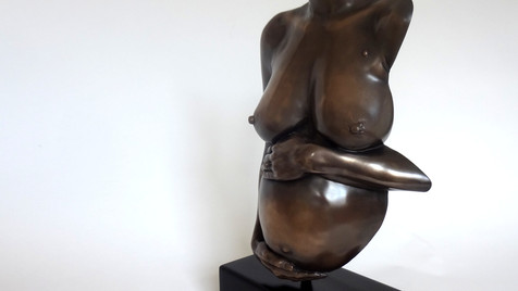 Cold cast bronze pregnancy body casting by Angelcasts miniaturised with 3d scanning