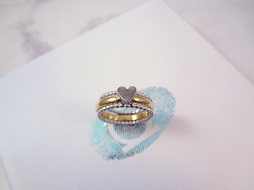 Fingerprint Beaded Gold Ring Set