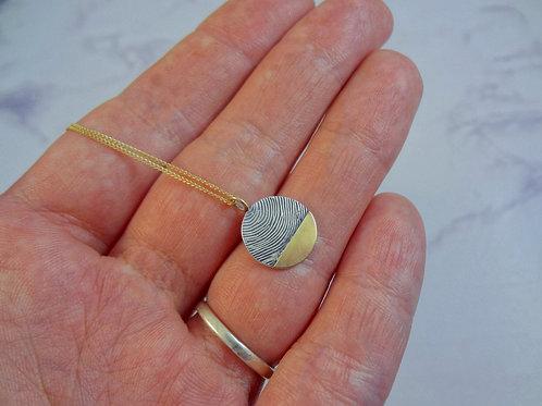 Gold Eclipse Fingerprint Pendant Necklace or Pet Print