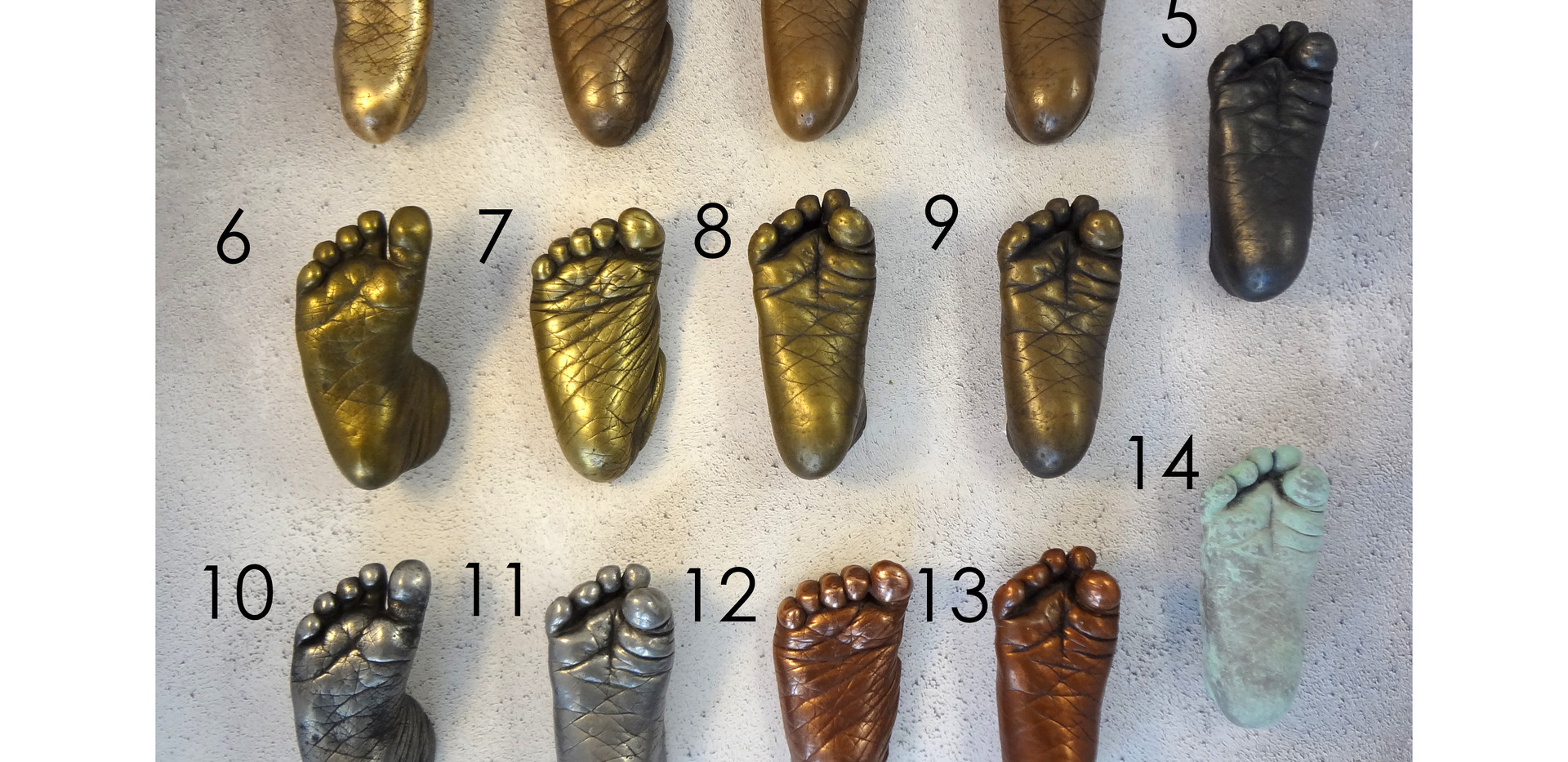Cold Cast Metal Baby Casting Colour Samples by Angelcasts for DIY Baby Casting Kits
