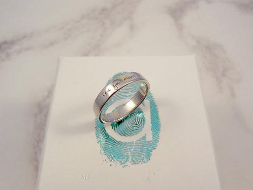 Handwriting Engraved Ring in Silver
