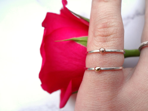 Dainty Stacking Rings in Sterling Silver with 9ct Yellow Gold & Rose Gold Balls