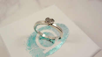 Paw pad texture heart ring in silver
