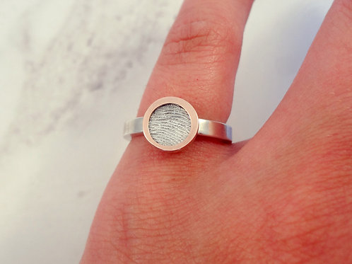 9ct Rose Gold Fingerprint Bezel Ring with Engraving