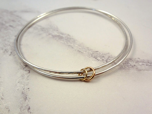 Rose Gold & Yellow Gold Bangle Charm Set