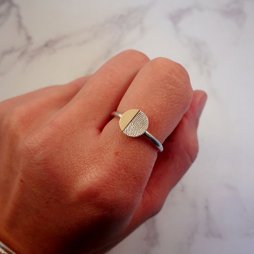Gold & Silver Fingerprint Eclipse Ring