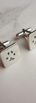 Cat Paw Print Cufflinks in Sterling Silver