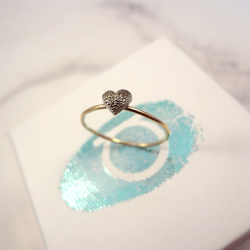 Skinny Paw Pad Texture Gold Stacking Ring Heart
