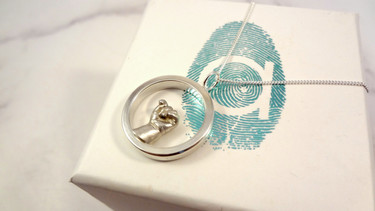 Silver eternity miniature hand pendant for mum