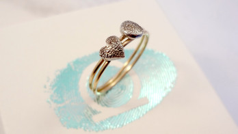 Skinny stacking rings with paw pad or fingerprint detail