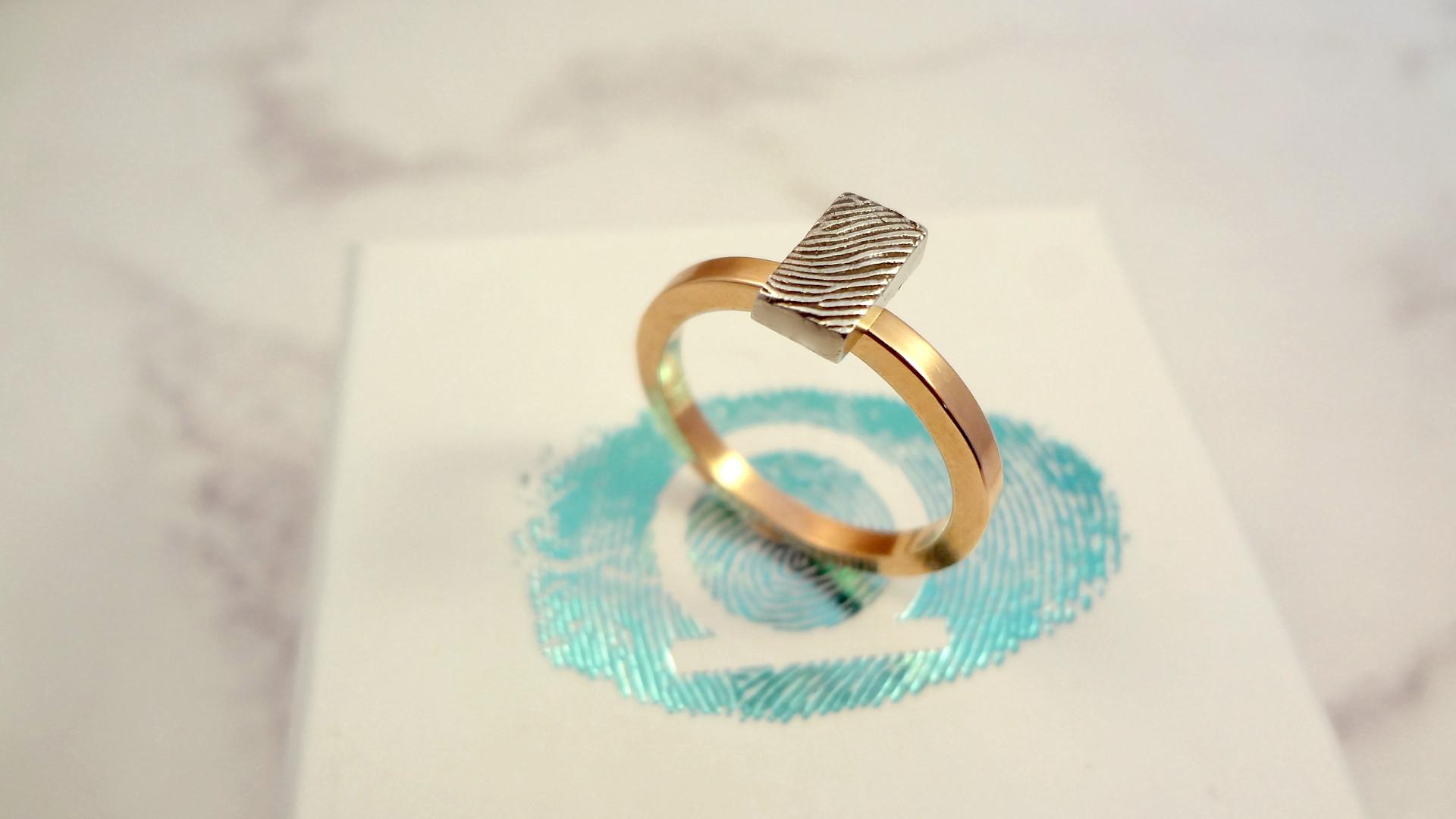 Fingerprint bar ring geometric jewellery handmade in the UK