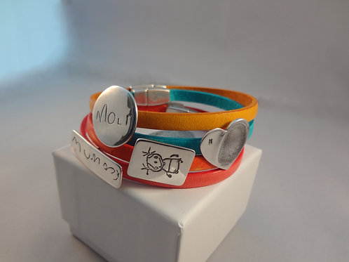 Doodle, Fingerprint, Written Name, Handprint or Pawprint Leather Bracelet