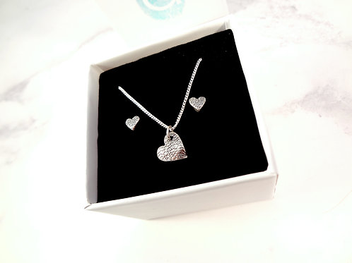 Paw Pad Texture or Nose Print Heart & Earring Set in Sterling Silver