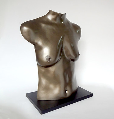 Faux Bronze Finish on a fibreglass torso body castinbg with base