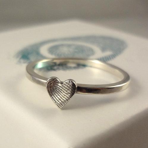 Silver Fingerprint Stacking Ring