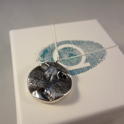 Cat Nose Pendant with Fingerprint or Paw Print on the back