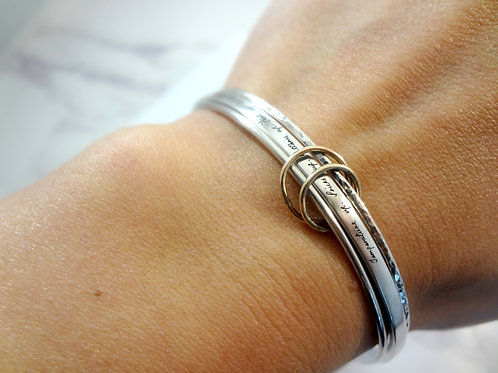 Handwriting Bangle Set with Gold Charms