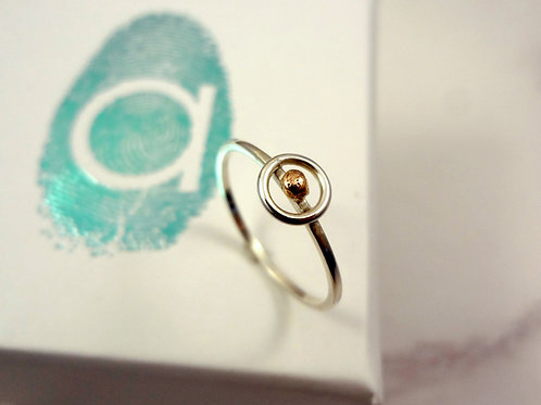 Eternity Planet  Stacking Rings with Rose Gold or Yellow Gold Textured Spheres