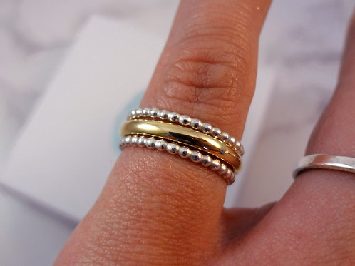 Beaded Silver & Gold Stacking Ring Set
