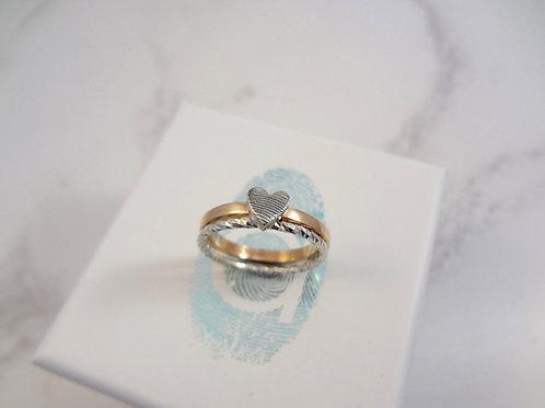 Rose Gold Fingerprint & Pixel Stacking Ring Set