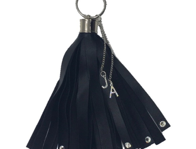 Liberty Crystal-Embellished Faux-Leather Mini Tassel Keychain