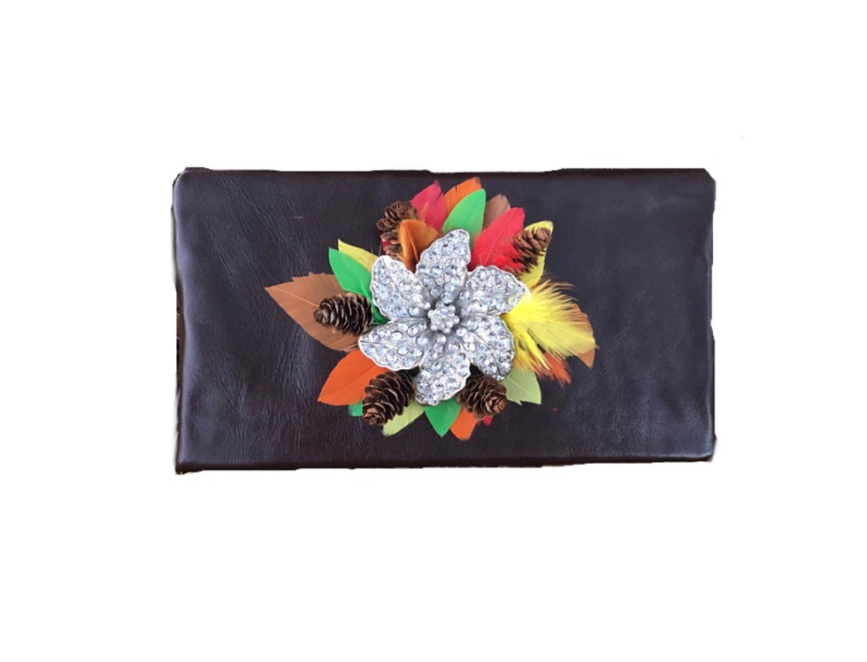 Pinecone Reef Embellished Leather Box Clutch