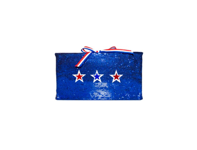 Star Spangle Ribbon-Trimmed Sequin-Embellished Box Clutch