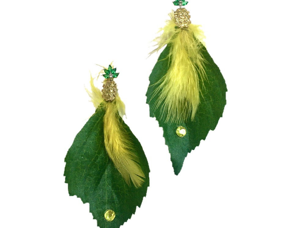 Sunny Side Feather-Trimmed Embellished Statement Earrings