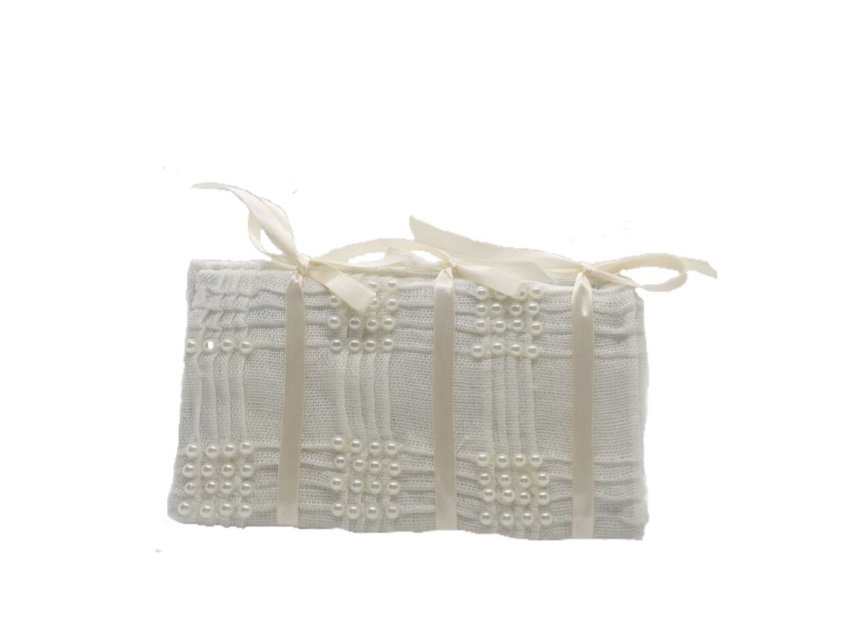 I Thee Wed Ribbon-Trimmed Faux Pearl-Embellished Box Clutch