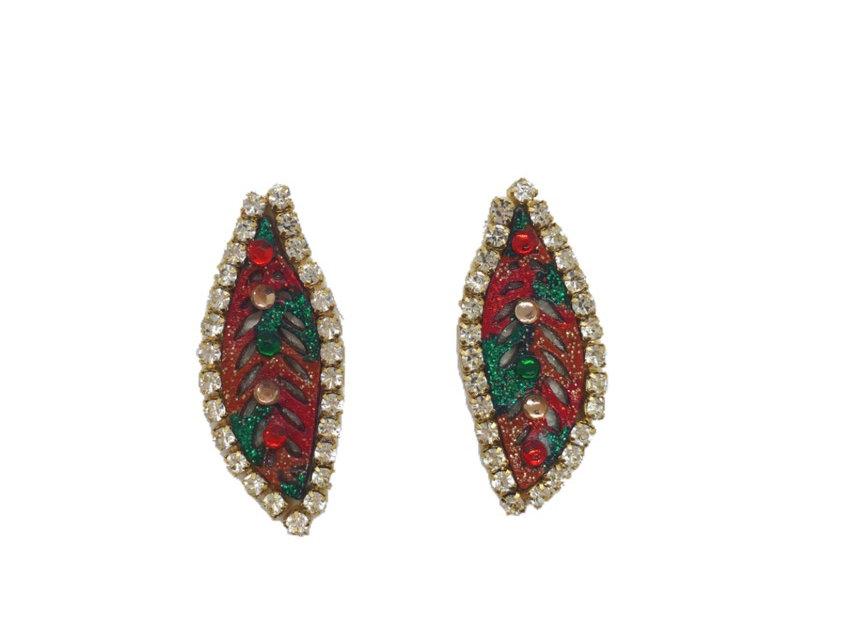 Fall Foliage Leather Crystal-Embellished Stud Earrings