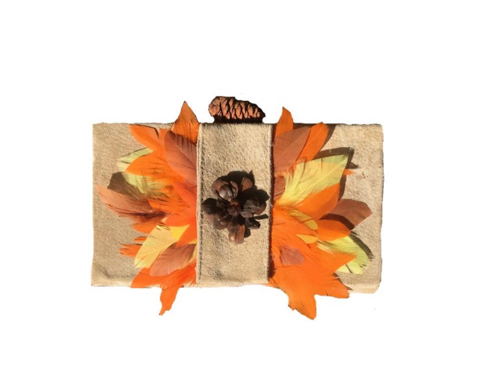 Suede Harvest  Embellished Box Clutch