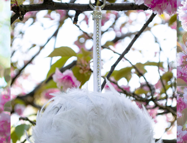 Pure Honor Sterling Silver Crystal-Embellished Feathered Bridal Micro Bag