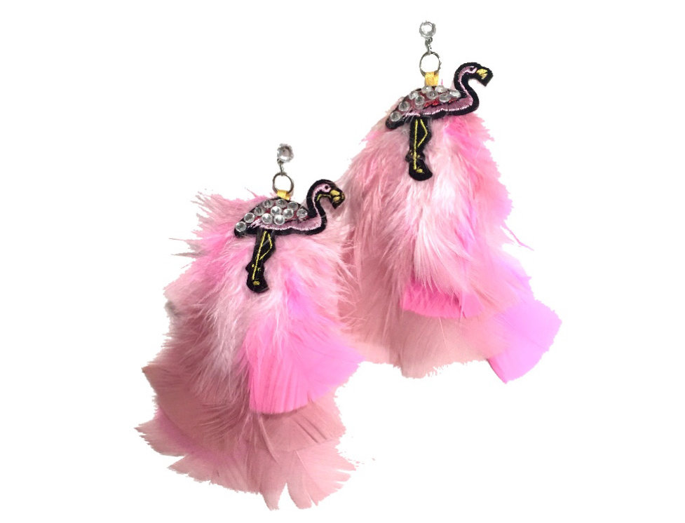Flo-mingle Crystal-Embellished Patch-Appliquéd Feather Statement Earrings