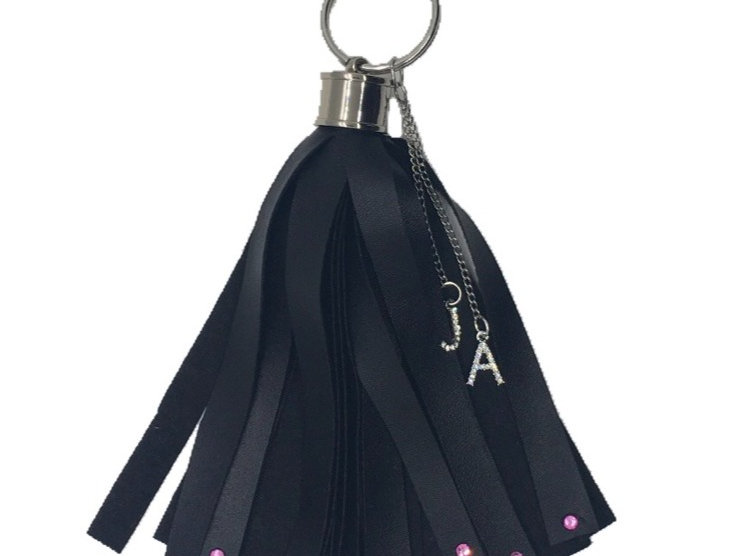 Love Crystal-Embellished Faux-Leather Mini Tassel Keychain